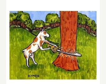 20% off Pit Bull Terrier Lumberjack Dog Art Print
