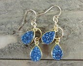 Blue Druzy Earrings, Blue & Gold Earring