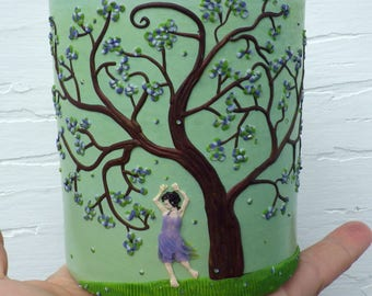 Yeah Spring! Blossoming Spring Tree with Dancing Girl Sculpted with Polymer Clay onto a Recycled Glass Candle Holder in Light Lime