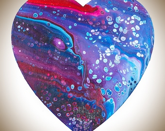 Father's Day gift Wooden Heart wall art wall hangings Acrylic Impasto colourful fluid art red purple blue turquoise by QIQIGallery