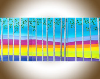 """48"""" Birch painting silver birch oil landscape wall art office decor painting on canvas """"spring birch on the hill side""""by QIQIgallery"""