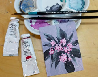 Black Elderflower - Original watercolor and gouache ACEO