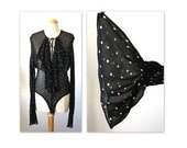 ON HOLD Vintage Donna Karan Bodysuit Blouse S Semi Sheer Black with Nude Diamonds