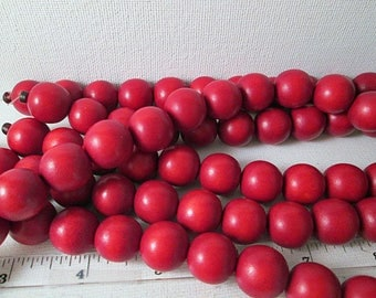 Wood Beads, 16mm Red Round Beads, Dyed Wooden Beads, Cranberry Red Wood Beads, 16mm Wood Beads, Red Wood Bead, 16 Inch Strand, QTY 1 - wb163