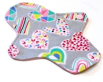 7 inch Reusable Cloth winged ULTRATHIN Pantyliner - Cotton flannel top - Grey Hearts