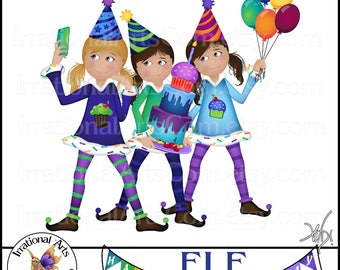 ELF Ugly Christmas Sweater Happy BIRTHDAY PARTY set 1 - Elves - 50 digital clipart graphics Png 300dpi