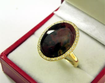 AAAA Bloodstone 18 x 13mm  8.80 Carats   14K Yellow gold Diamond halo cabochon ring. 1523