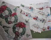Vintage Christmas Wrapping Paper, FIVE Unused Festive Gift Wrap, Old Fashioned Scene, Horse, Snowman, Wreath, Wagon