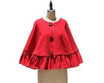 Vintage Red Linen Short Cape