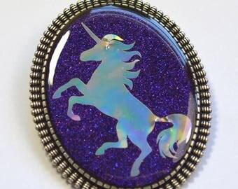 Holographic Holo Unicorn Pink Purple Fantasy Resin Brooch