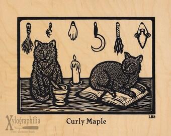 Cat screenprint on wood veneer 8 x 10