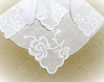 "Vintage White Handkerchief Hand Embroidered Floral Applique 16"" inch Wedding Hankie Bridal Party Shower Hanky Gift for Her"