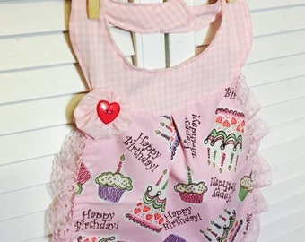 Birthday Fancy Bib Dress - Reversible Girls Bib that can be worn as a dress - Perfect for Pictures, Birthday, Baby Shower Gifts fits 6-24 m