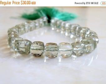Deep Discount Sale Prasiolite Green Amethyst Gemstone Faceted Cube 8mm 13 beads 1/2 strand