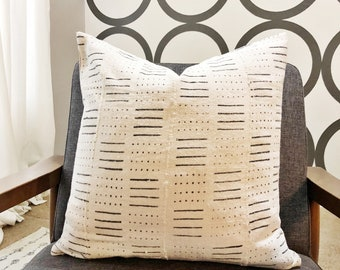 """Birch 20"""" mudcloth pillow cover"""
