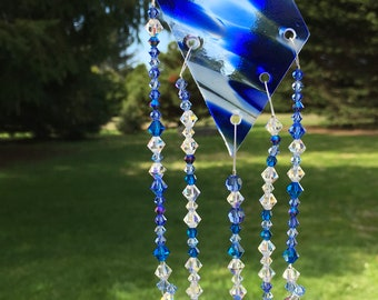 Blue and White Crystal Suncatcher, Stained Glass and Swarovski, Crystal Sun Catcher, Crystal Decoration, Stained Glass Mobile, 8907