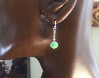 Earrings Glass Lamp Work Green Sterling Silver