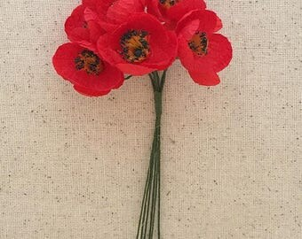 Fabric Millinery Flowers From Austria 6 Red Poppies Poppy #A44
