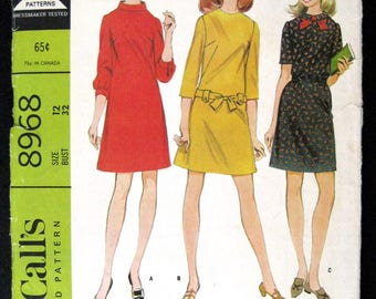 1967 McCalls sewing pattern 8968  Misses Dress in 3 versions easy to sew pattern size 12 bust 32