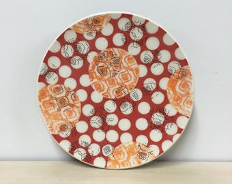 handmade porcelain salad plate: Dot Dot Quilt by Meredith Host in Red & Orange
