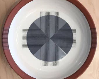 Serving Bowl, mid mod, cross, Roth Ayers Design, bowl, Terracotta, grey, handmade, midcentury modern, wheel thrown pottery, geometric design