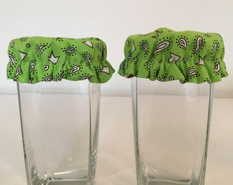 Reusable Glass Cup Wine Soda Can Cover Cozy Lime Green