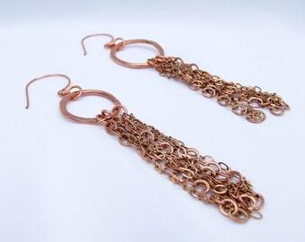 Tassel Earrings, copper earrings, Large hand forged links, artisan copper jewelry
