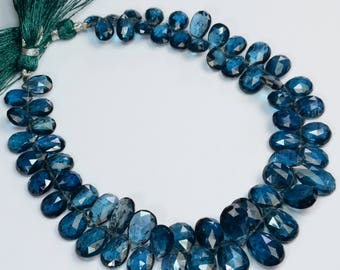 "Imperial LARGE Teal Kyanite Faceted Pear Briolette Beads 9.7"" Strand"