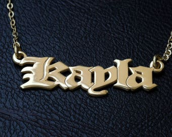 24K Gold Plated -  Personalized Name Necklace - Custom  Name Jewelry - Customize Name Necklace