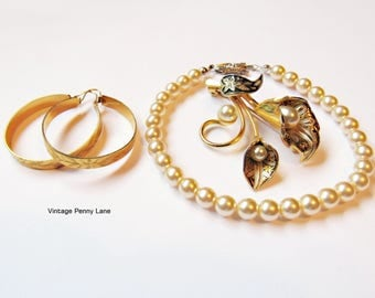 Vintage Pearl, Gold, Damascene Costume Jewelry, Destash Lot