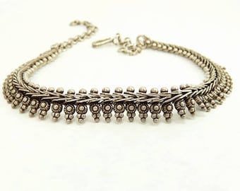 Ethnic Tribal Sterling Silver Necklace
