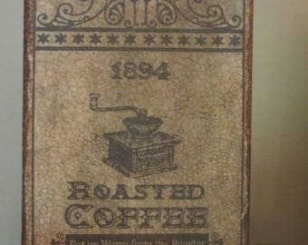 Wood Plaque Roasted Coffee