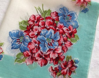 Vintage Print Handkerchief Floral Turquoise Hanky