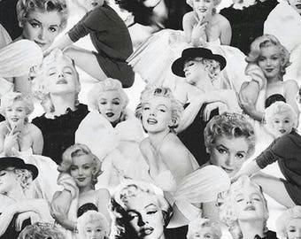 Marilyn Monroe Platinum Black and White Kaufman Fabric