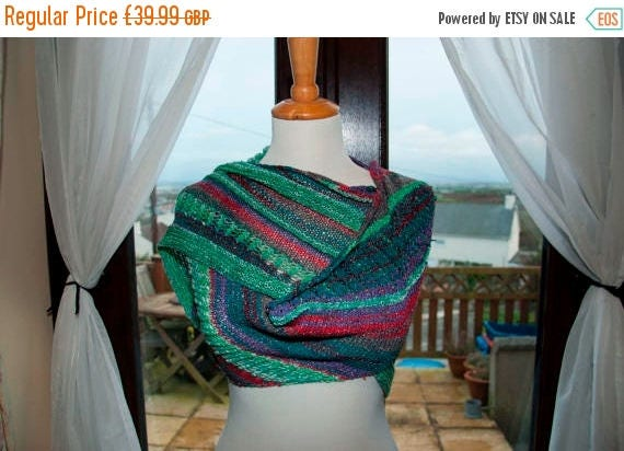 Christmas In July Handknitted Sparkly Shawl/Shawlette in Shades of Purple, Green and Red