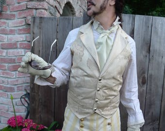 Ivory Pearl Tapestry Cloth and Silk Steampunk Victorian Lapeled Gentlemen's  Wedding Vest and Trousers