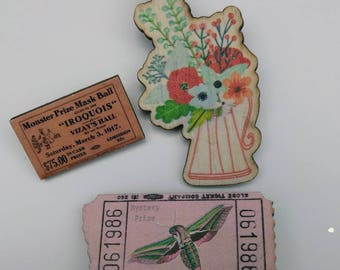 3 x Wooden Brooches - Ticket, Flower (SET A5)