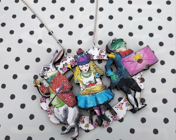 Alice in Wonderland Necklace, Alice/White Rabbit/Frog Footman Necklace, Tenniel Illustration, Statement Necklace, Altered Art, Mixed Media