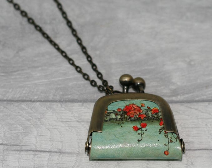 Red Flower Coin Purse, Floral Coin Purse Necklace, Flower Necklace,