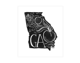 Georgia State Print // 1canoe2 // Modern Art Print