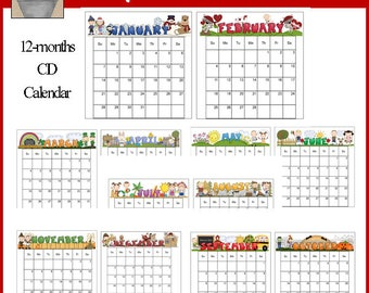 CD Calendar 2018 - Teacher, Kids, Mom Printable