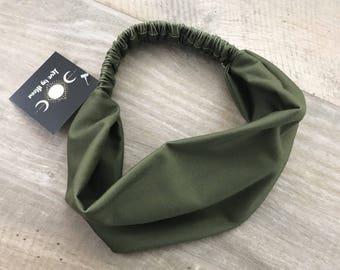 Olive Head Wrap, Stretch Knit, Athletic Headwrap, Turban, Women's Headband, Olive Headband, Gym Hair, Hippie Hair, Wrap