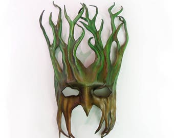 "Tree Leather Mask  greenman forest green man Ent Groot Treebeard 15"" tall"
