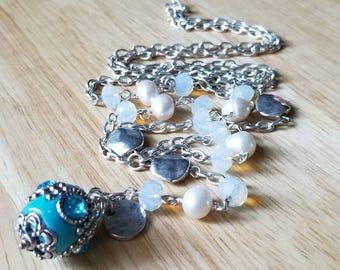 Silver Y necklace | mothers day gift mom gifts from daughter| boho jewelry | layering necklace| turquoise necklace |pendant necklace