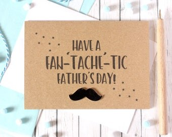 Fathers Day Card. Happy Father's Day. Father's Day. Mustache. Grandad Father's Day. Step-Dad Fathers Day. Fan-Tache-Tic. Dad Card. Dad's Day