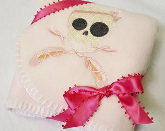 Ballet Skull Soft Pink Baby Blanket Embroidered One of a Kind Embroidery Machine Shower Gift Bow Blanket Stitched Toe Shoes Skully Lovey
