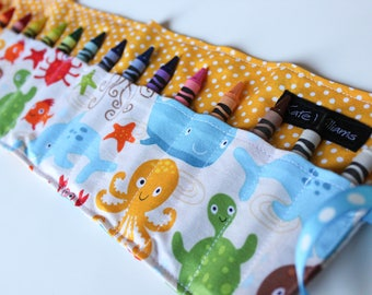 Under the Sea Crayon Roll-Octopus, Whale, and Fish Crayon Holder-Under the Sea Birthday Gift-Gender Neutral Kid Gift-Kid Stocking Stuffer