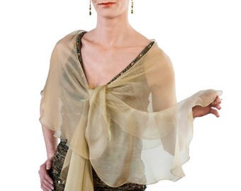 Promo Sale: Evening Antique Gold/ Champagne Silk Chiffon Fluttering Scarf Wrap.