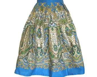Vintage 1950s Border Print Skirt / Cotton Paisley Print Skirt / Box Pleated Skirt / Blue Green Beige Skirt / Indian Print / 26 Waist