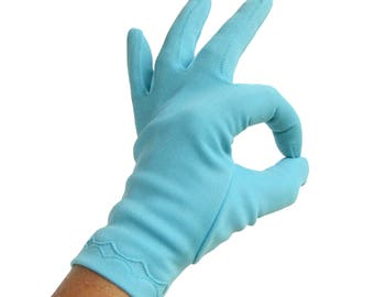 Vintage Evening Gloves Bright Blue /  Easter Gloves / Shortie Evening Gloves / Robins Egg Blue / Women's Gloves / Driving Gloves / Size 7